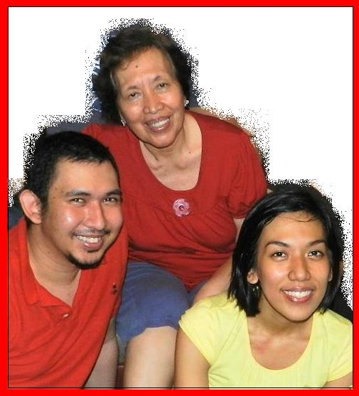 Mommy Lourdes with Jenny and Vincent Sheker