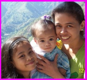 Mommy Margie Mabilin with Adrianne and Baby Marianne