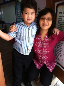 Hello Mrs. Lim, I was touched when you helped me clean my mustache when it was the Children's Day party in school. You were like a mommy too, but only living in school. Thank you for for listening to me every time I tell you stories about anything I want to say. It makes me feel special. Love, Santino